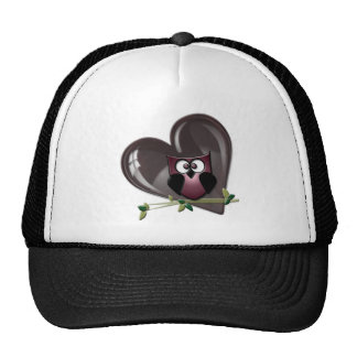 Cute Red Owl and Heart Gifts Mesh Hat