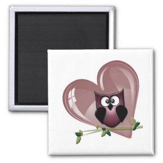Cute Red Owl and Heart Gifts Fridge Magnet