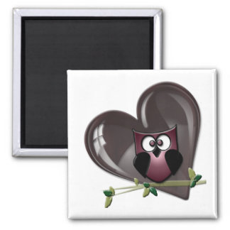 Cute Red Owl and Heart Gifts Magnets