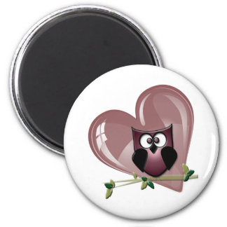 Cute Red Owl and Heart Gifts Refrigerator Magnet