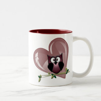 Cute Red Owl and Heart Gifts Coffee Mug