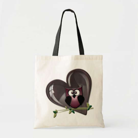 Cute Red Owl and Heart Gifts Tote Bag