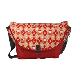 Cute Red Owl Argyle Pattern Messenger Bag