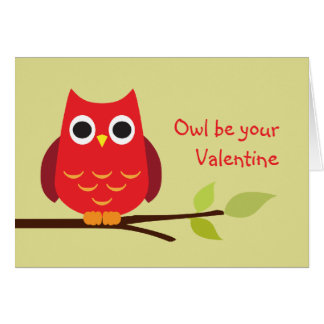 Cute red owl be your valentine adorable greeting card