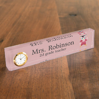 Cute Red Owl Teacher customizable Nameplate