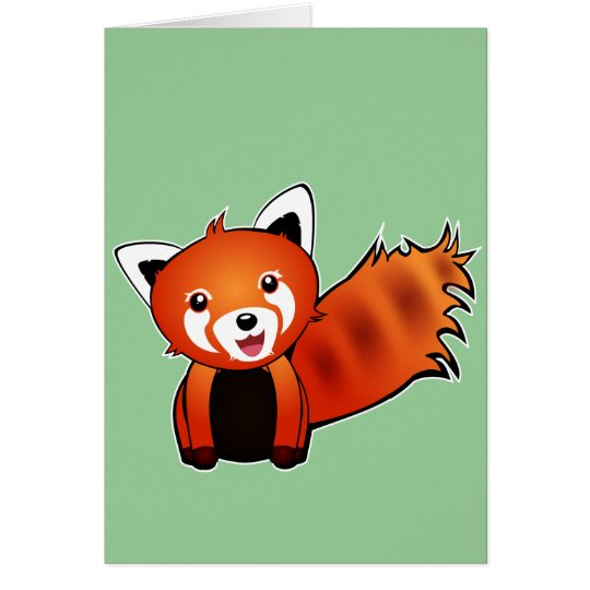 Cute red panda animation illustration card