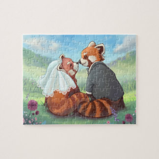 Cute Red Panda Couple In Love Jigsaw Puzzle