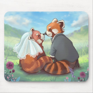 Cute Red Panda Couple In Love Mouse Mat