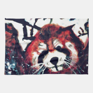 Cute Red Panda Snow Day Tea Towel