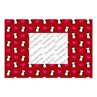 Cute red penguin hearts pattern photograph