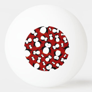 Cute red penguin pattern Ping-Pong ball