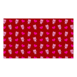 Cute red pig hearts pattern business card template