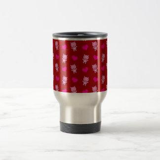 Cute red pig hearts pattern travel mug