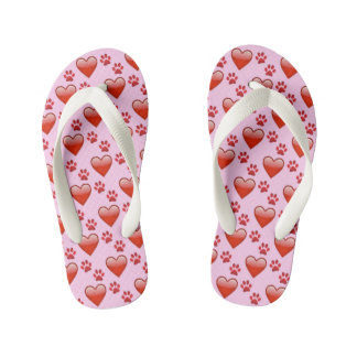Cute Red & Pink Hearts and Paw Prints Animal Love Flip Flops