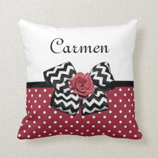 Cute Red Polka Dots With Chevron Rose Bow and Name Cushion