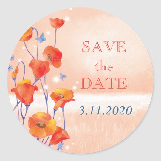 Cute Red Poppies Wedding Save the Date Classic Round Sticker