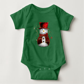 Cute Red Snowman Baby Bodysuit
