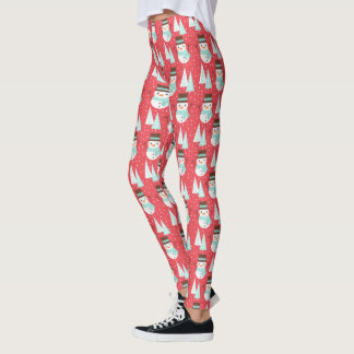 Cute Red Snowman Christmas Holiday Leggings
