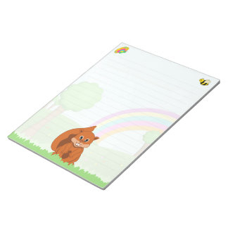 Cute Red Squirrel and Insects Cartoon Notepads