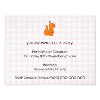 Cute Red Squirrel Cartoon on Pink Check 11 Cm X 14 Cm Invitation Card