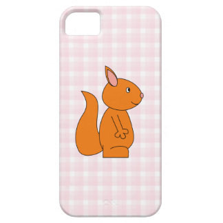 Cute Red Squirrel Cartoon on Pink Check Case For The iPhone 5