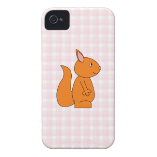 Cute Red Squirrel Cartoon on Pink Check iPhone 4 Cover