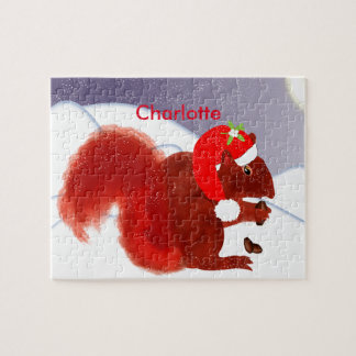 Cute Red Squirrel Christmas Holiday Personalized Jigsaw Puzzle