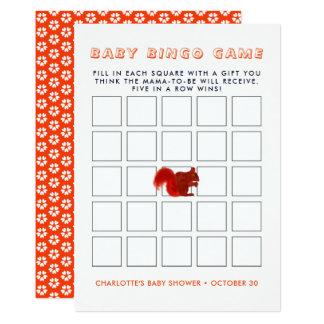 Cute Red Squirrel Fall Rustic Baby Shower Bingo Card