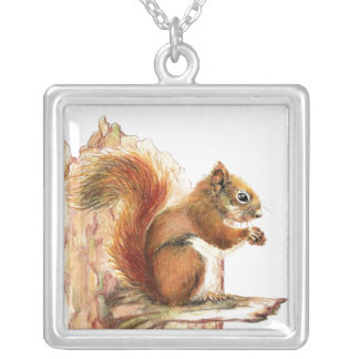 Cute Red Squirrel  - Nature Silver Plated Necklace