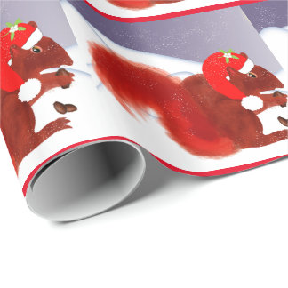 Cute Red Squirrel Snowy Christmas Wrapping Paper