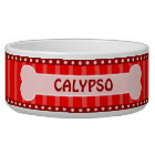 Cute Red Stripes Bone and Paws Large Dog Bowl