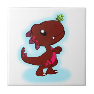 Cute Red T-Rex Small Square Tile
