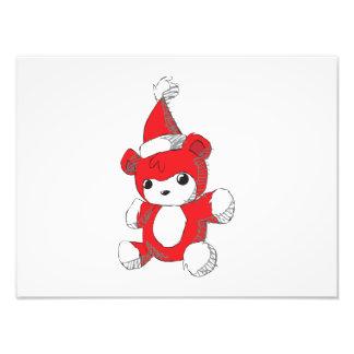 Cute Red Teddy Bear Santa Hat Invitation Stamps Photo