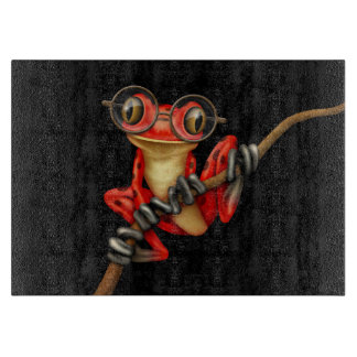 Cute Red Tree Frog with Eye Glasses on Black Cutting Board