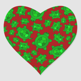 Cute red turtle pattern heart sticker