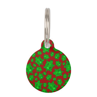 Cute red turtle pattern pet ID tag
