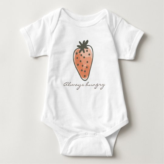 CUTE RED WATERCOLOUR STRAWBERRIES always hungry Baby Bodysuit