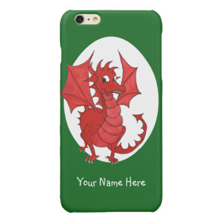 Cute Red Welsh Dragon, Green and White Background iPhone 6 Plus Case