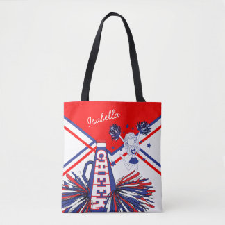 Cute Red, White and Blue Cheerleader Design Tote Bag