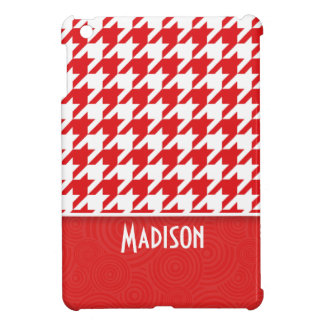 Cute Red & White Houndstooth iPad Mini Cover