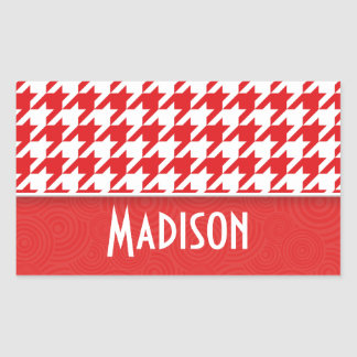 Cute Red White Houndstooth Stickers