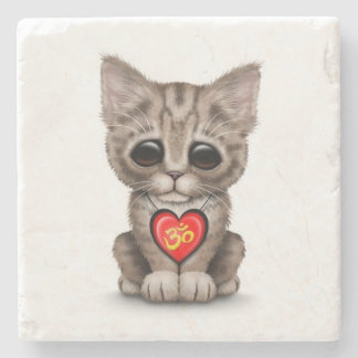 Cute Red Yoga Love Om Kitten on White Stone Coaster
