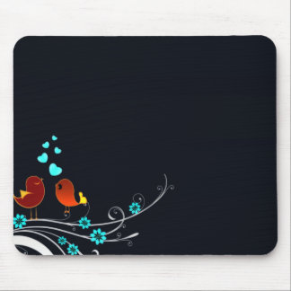 Cute reddish love birds and aqua hearts mouse pad