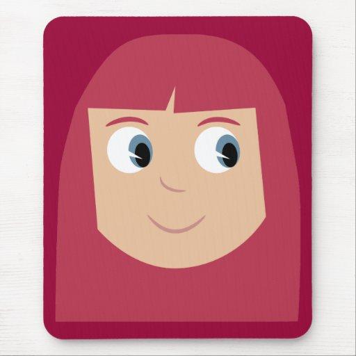 Cute redhead cartoon character girl mousepad