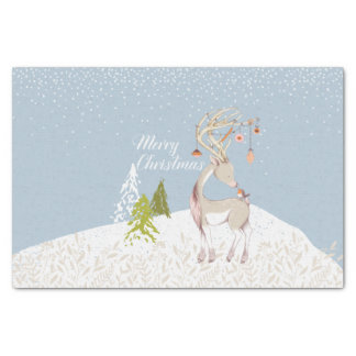 Cute Reindeer and Robin in the Snow Tissue Paper