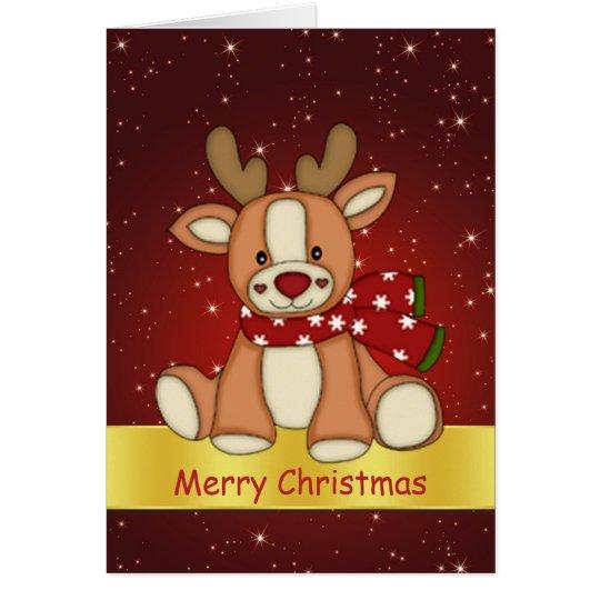 Cute reindeer and twinkling stars Christmas Card