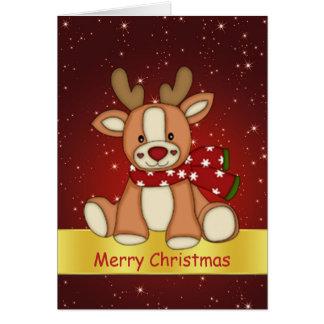 Cute reindeer and twinkling stars Christmas Greeting Card