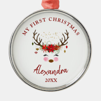 Cute Reindeer Baby 1st Christmas Ornament