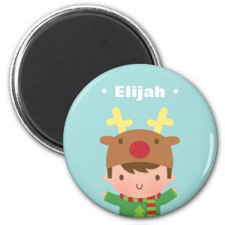 Cute Reindeer Boy Kids Christmas Fillers 6 Cm Round Magnet