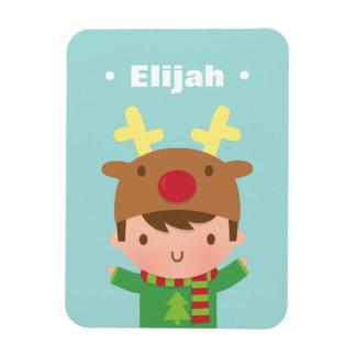 Cute Reindeer Boy Kids Christmas Fillers Rectangular Photo Magnet